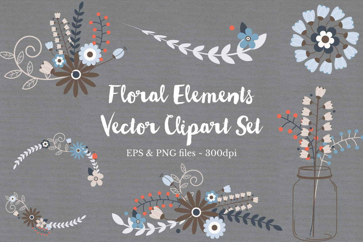 Floral Wreath Clipart Vectors example image 1