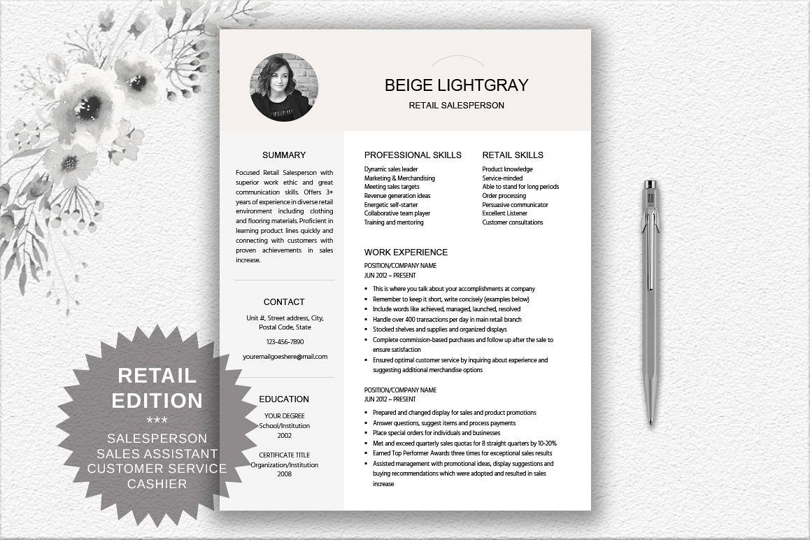 resume template salesperson retail design bundles
