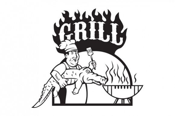 Chef Carry Alligator Grill Cartoon example image 1