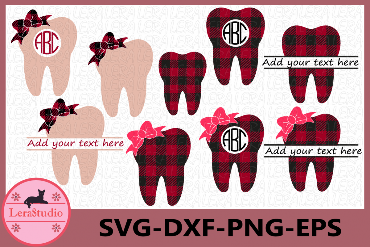 Tooth Plaid SVG, Monogram Tooth SVG, Tooth Buffalo Plaid Svg example image 1