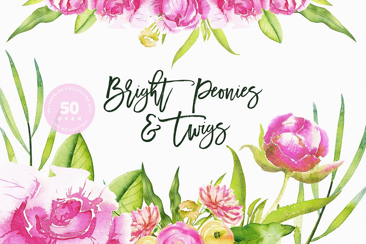 Watercolor Bright Peonies & Twigs example image 1