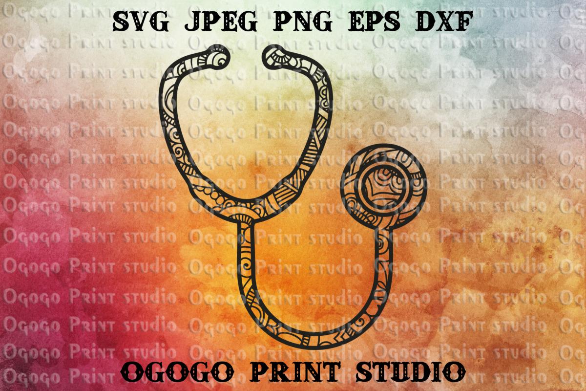 Stethoscope svg, Zentangle SVG, Medical svg, Mandala svg example image 1