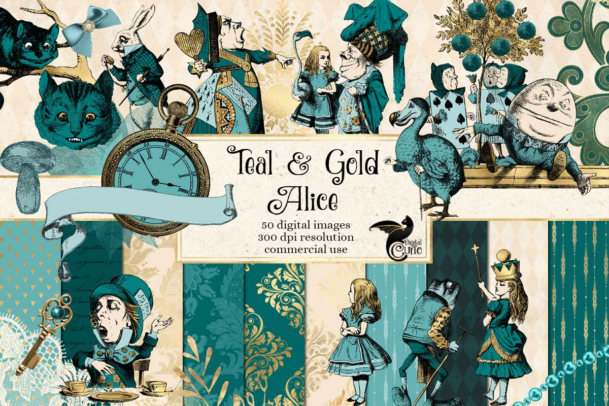 Teal and Gold Alice in Wonderland Graphics example image 1