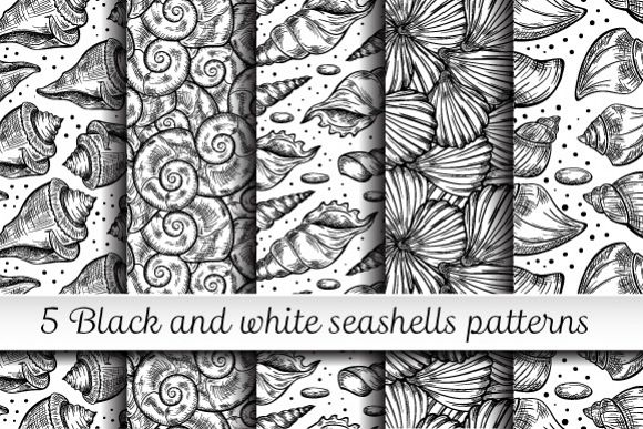 Black and white shells seamless patterns set example image 1
