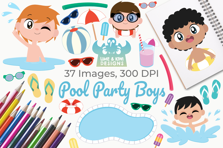 Pool Party Boys Clipart, Instant Download Vector Art example image 1