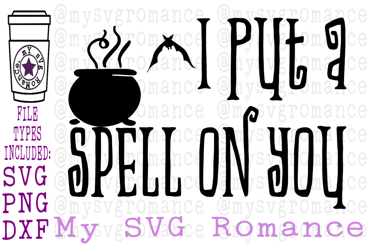 I Put A Spell On You PNG DXF SVG Bats Cauldron Shirt Tote example image 1