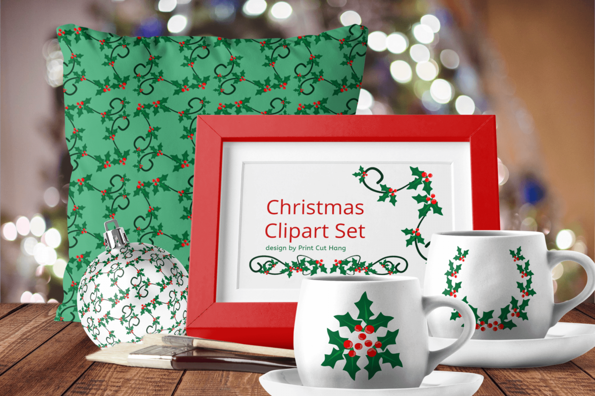 Christmas Holly Berries Divides Clipart Set Download example image 1
