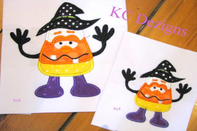 Wacky Halloween Corn 01 Machine Applique Embroidery Design example image 1