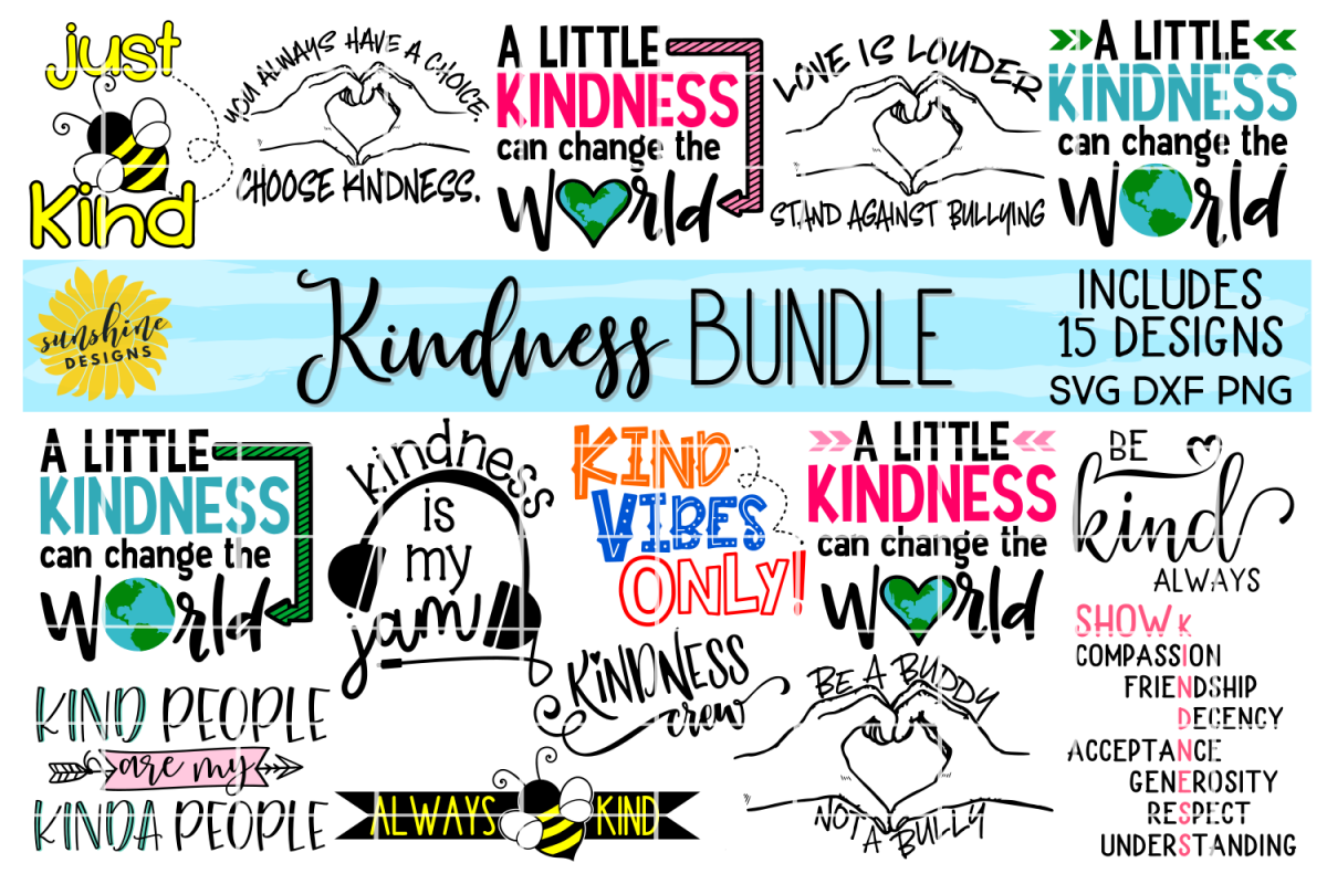KINDNESS BUNDLE | ANTI-BULLYING | 15 DESIGNS | SVG DXF PNG example image 1
