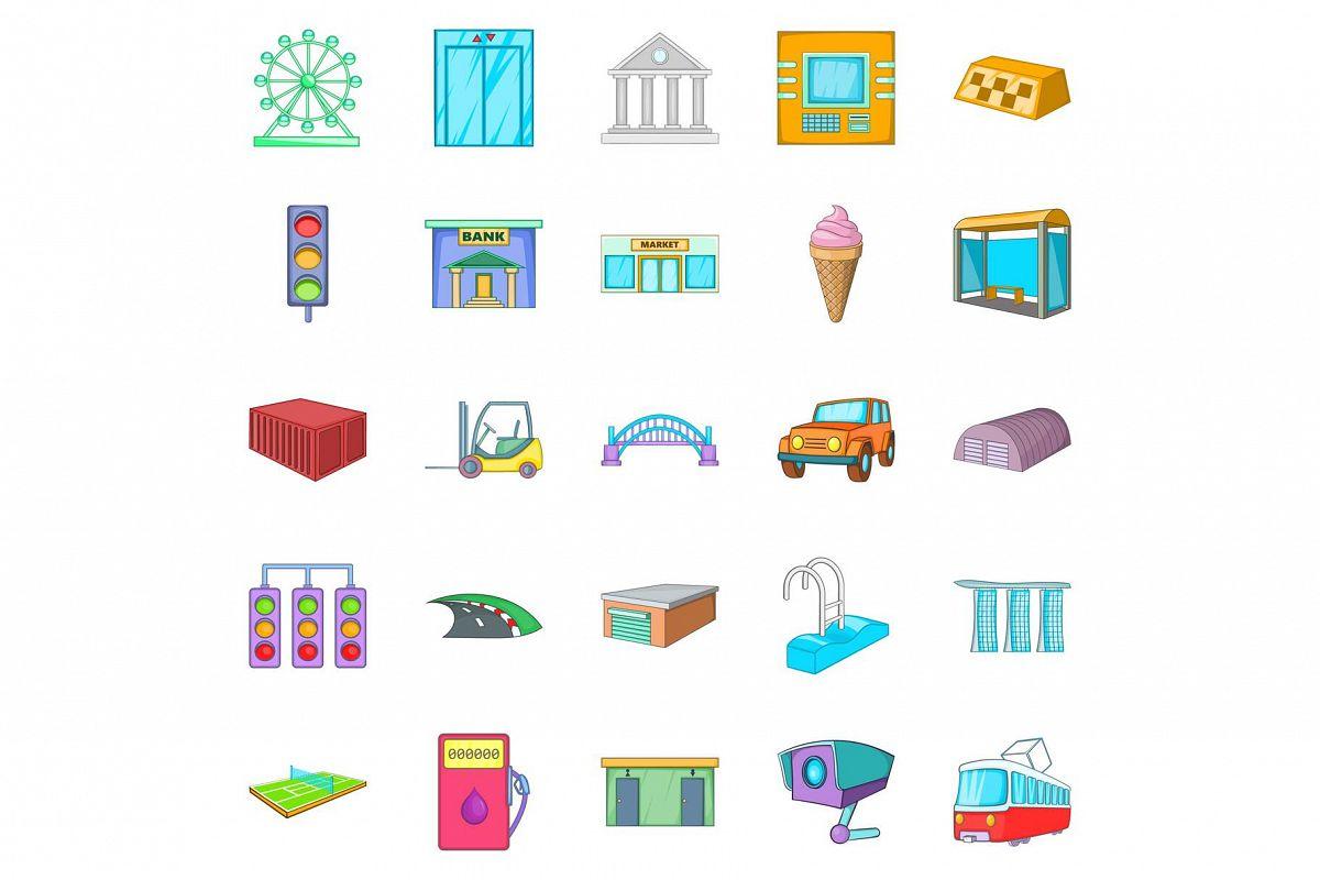 Urban entertainment icons set, cartoon style example image 1