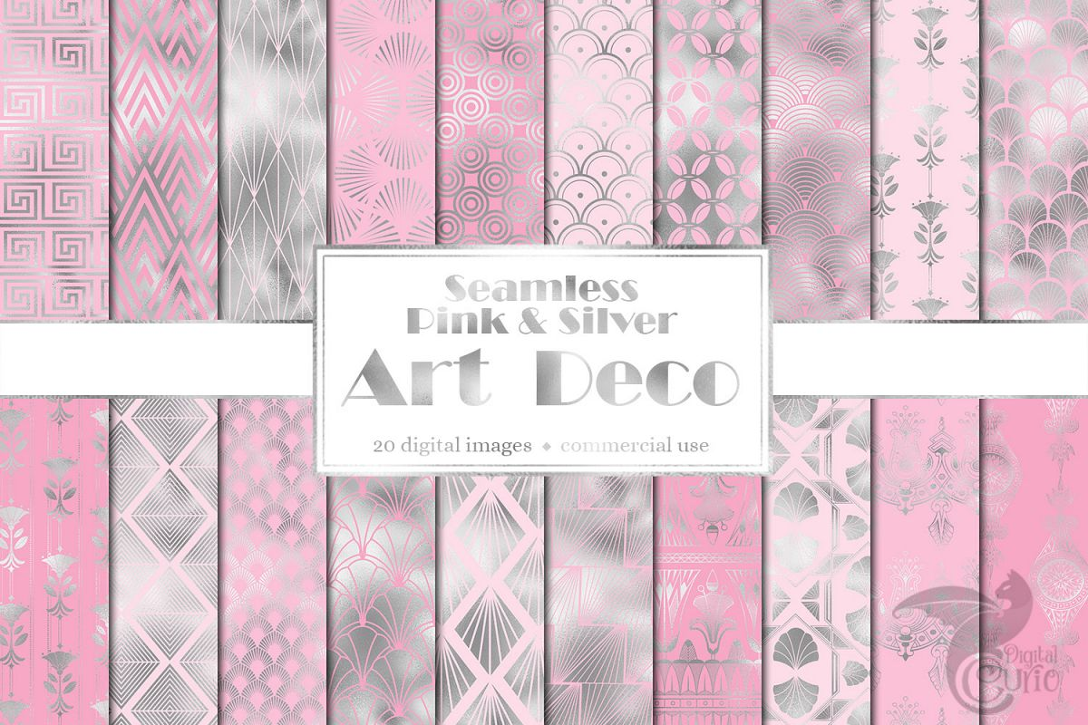 Pink and Silver Art Deco Digital Paper example image 1