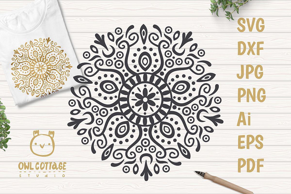 Tattoo ornament SVG, Mandala Decor Cut File example image 1