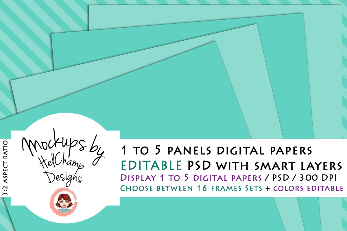 1 to 5 Panels Mockup for Digital Papers - M02 example image 1