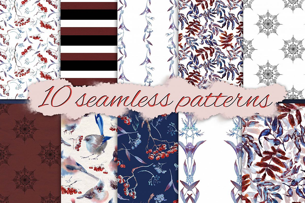 Set of Snowy seamless patterns example image 1