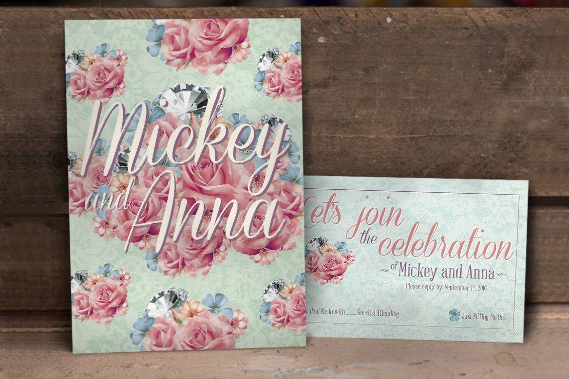 Flower Pattern Wedding Invitation example image 1