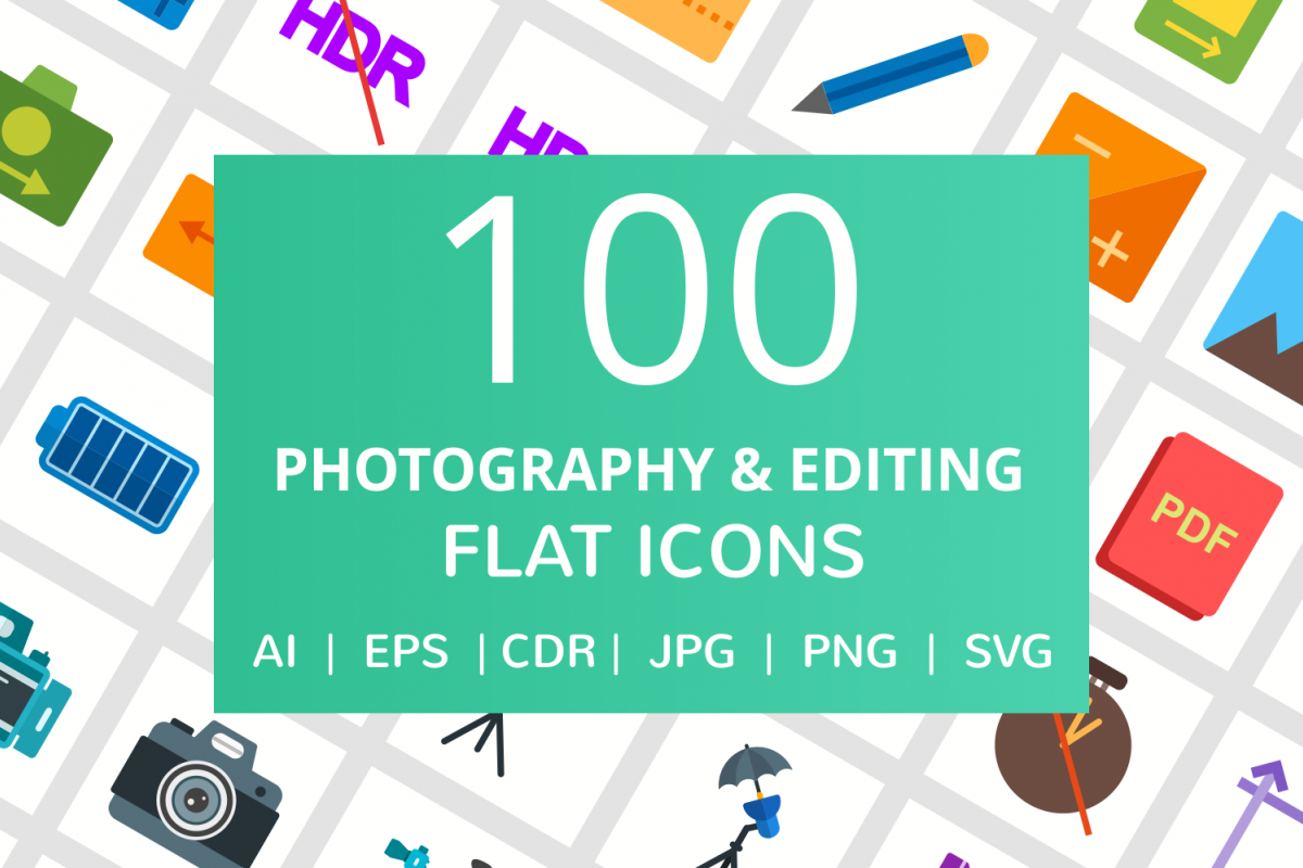 100 Photography & Picture Flat Icons example image 1