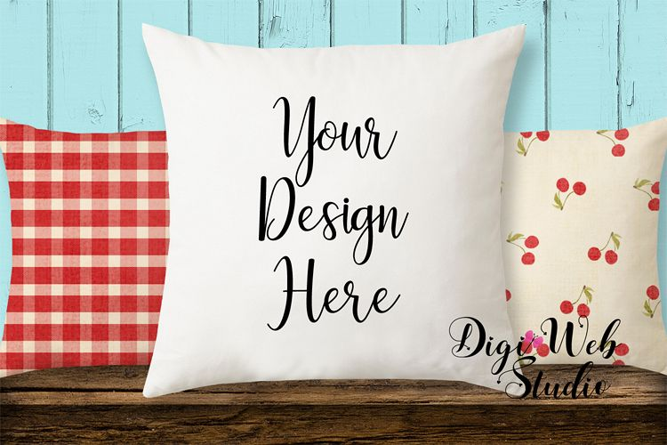 Pillow Mockup - Cottage Blue Pillows on Wood Bench example image 1