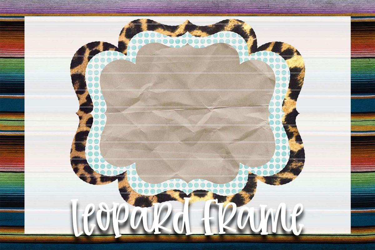 Teal & White Polka-Dot Leopard Frame Background Element example image 1