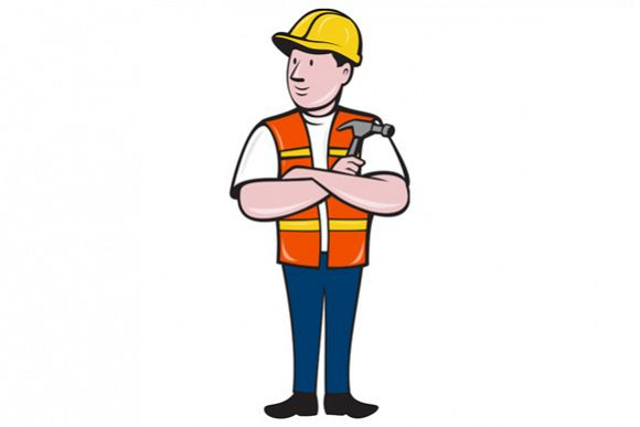 Builder Carpenter Folded Arms Hammer Cartoon example image 1