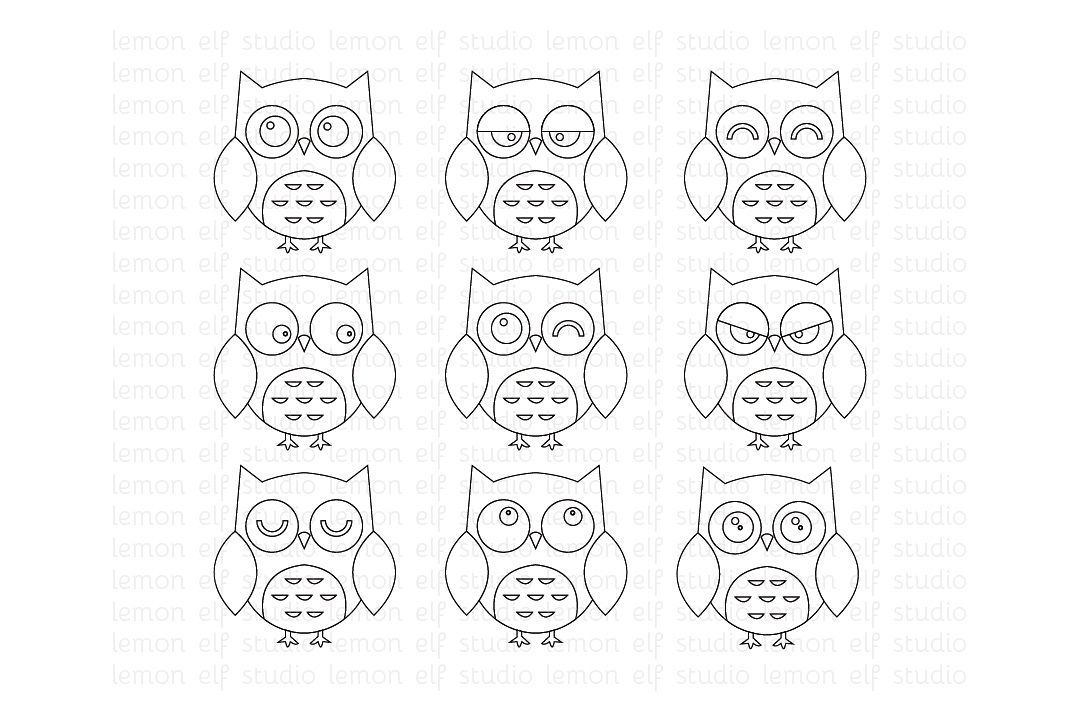 Expressive Owls-Digital Stamp (LES.DS01) example image 1