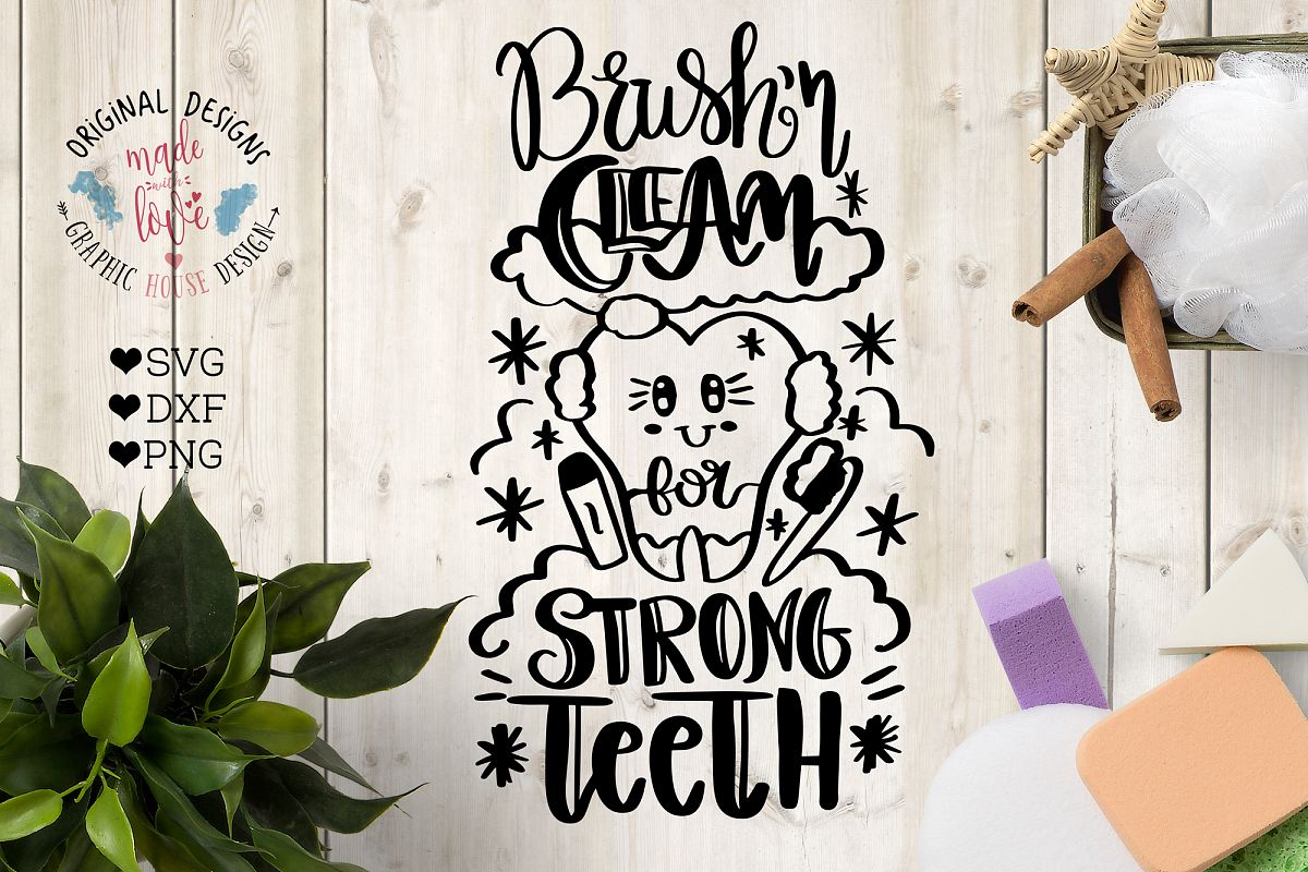 Brush Your Teeth - Hand lettered Bathroom Cut File example image 1