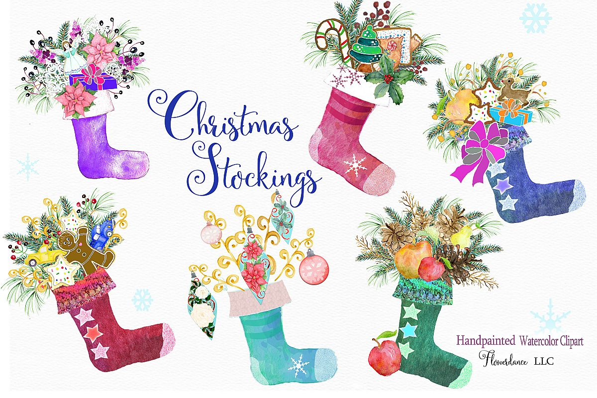 Christmas Stocking Clipart.Watercolor Clipart Christmas Stockings With Gifts