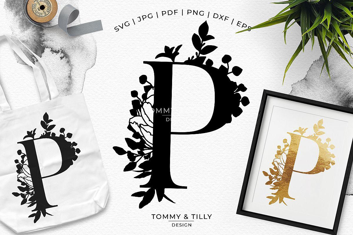 P Bouquet Letter Design - Paper Cut SVG EPS DXF PNG PDF JPG example image 1