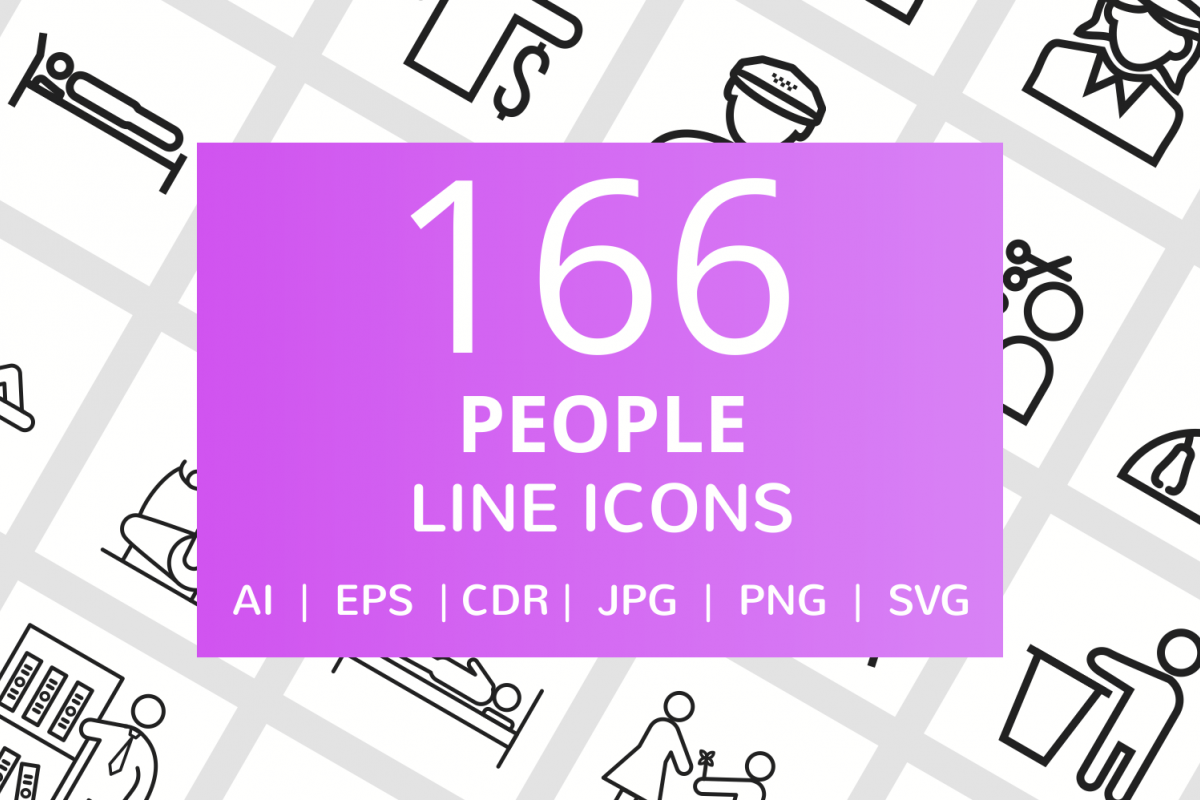 166 People Line Icons example image 1