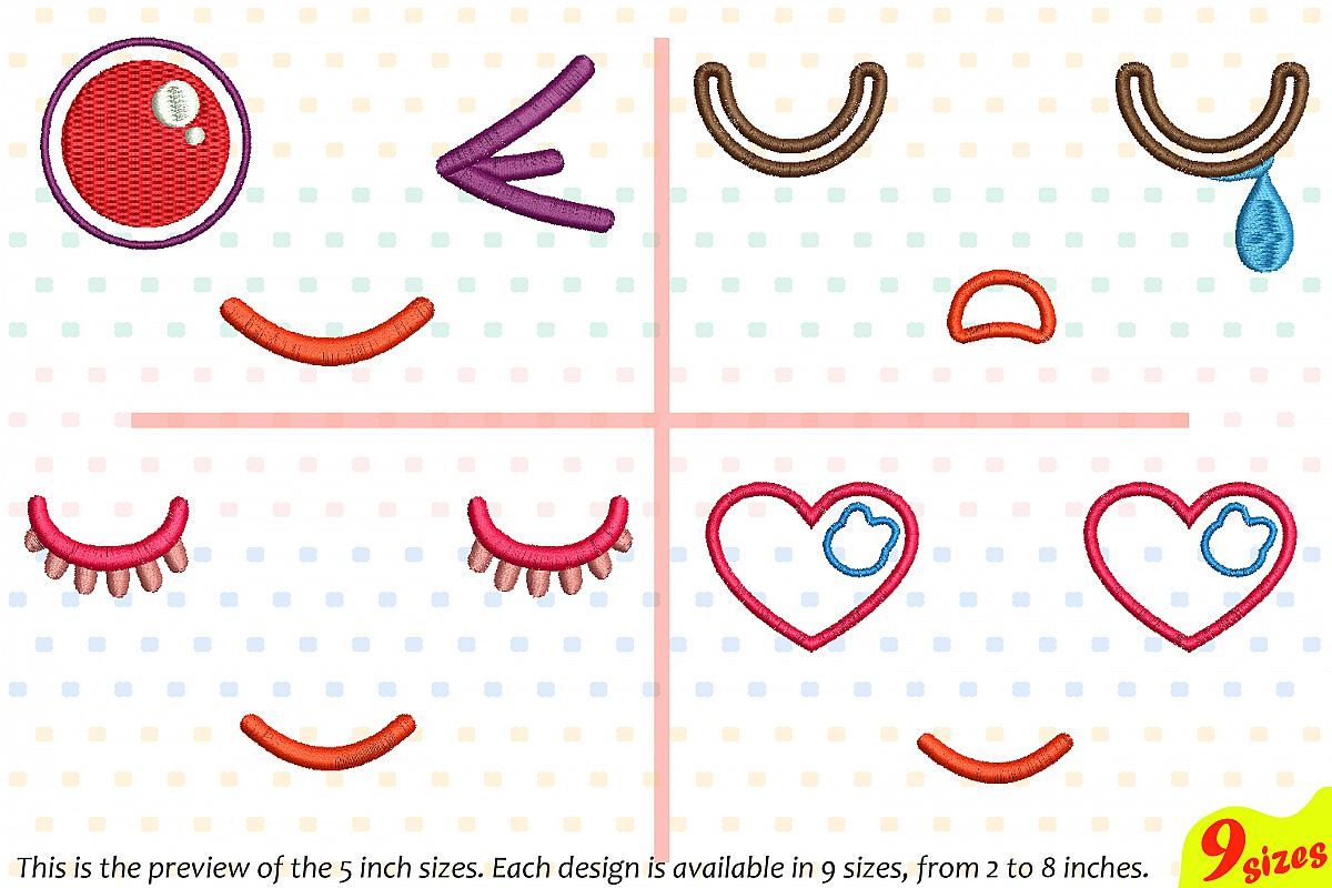 Cute Emoji Embroidery Design Machine Instant Download Commercial Use digital file icon symbol sign emoticons outline Kawaii Expression 188b example image 1