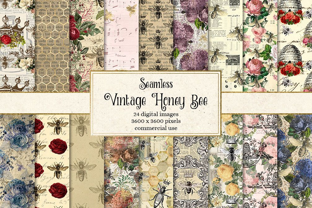 Vintage Honey Bee Digital Paper example image 1