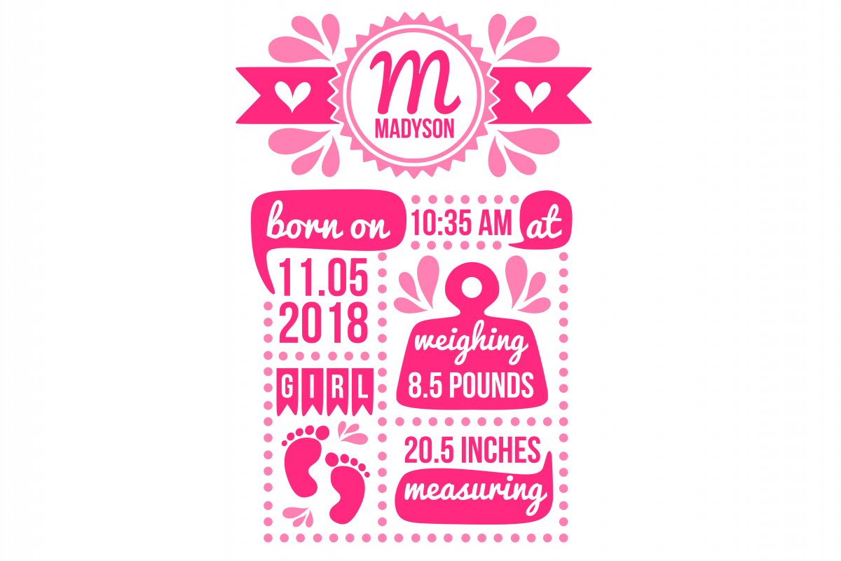 Birth stats svg, birth stats template, birth announcement svg, baby stats svg, newborn svg, welcome baby svg, cricut, silhouette example image