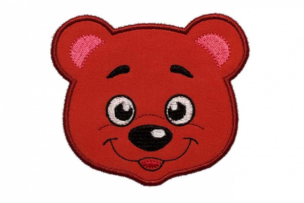 Baby bear head machine embroidery applique design