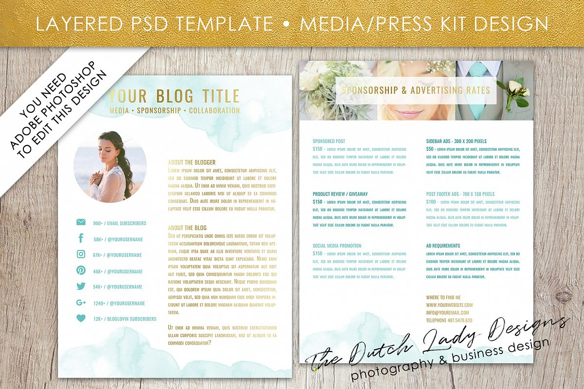 Media Kit Press Resume Template For Adobe Photoshop Layered Psd