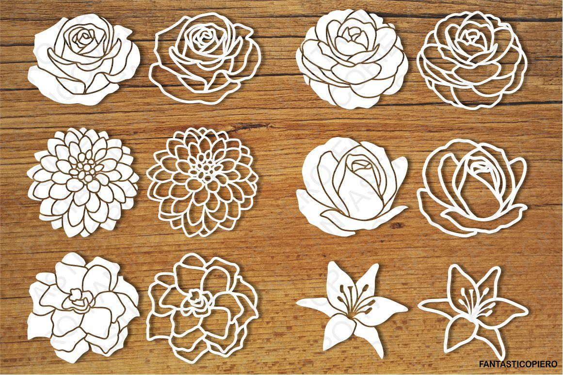Flowers set 2 SVG files for Silhouette and Cricut. example image 1