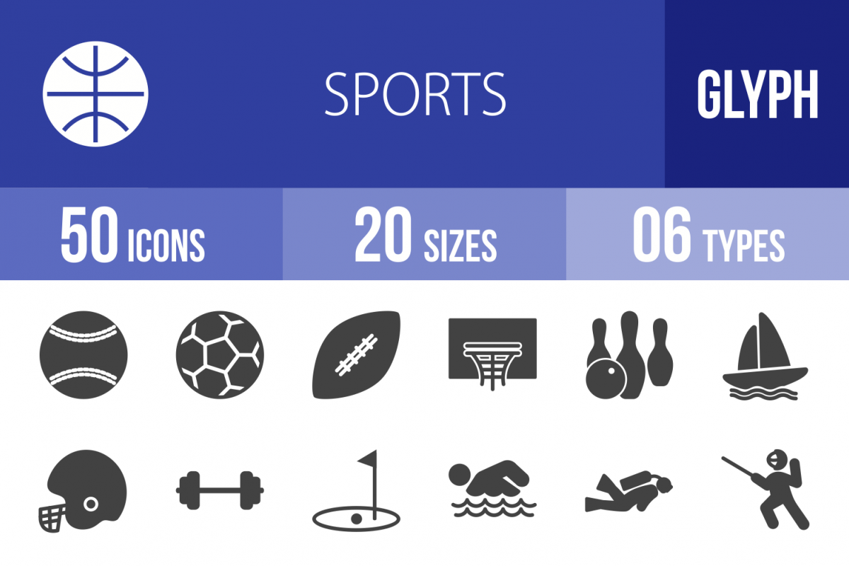 50 Fitness & Sports Glyph Icons example image 1
