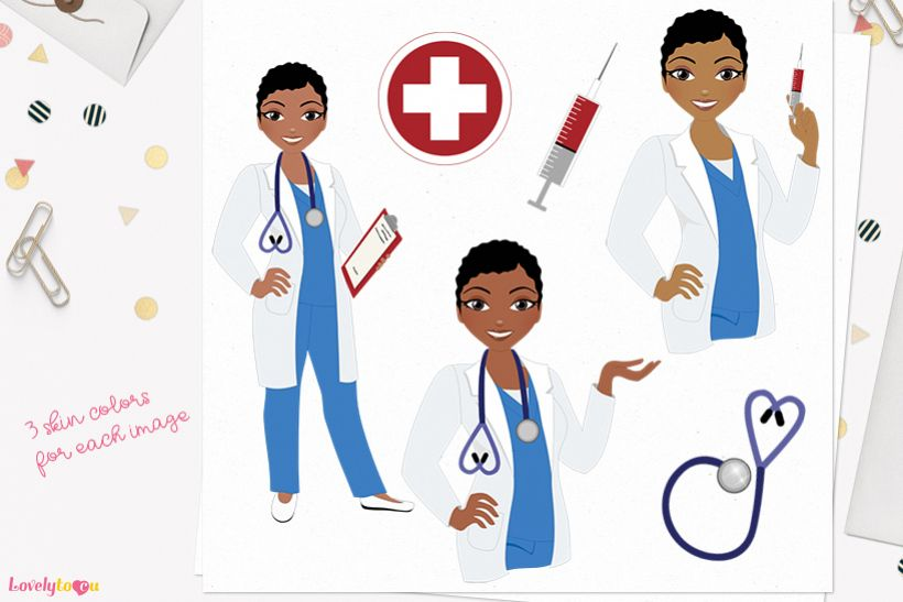 Nurse woman character clip art L398 Viola example image 1