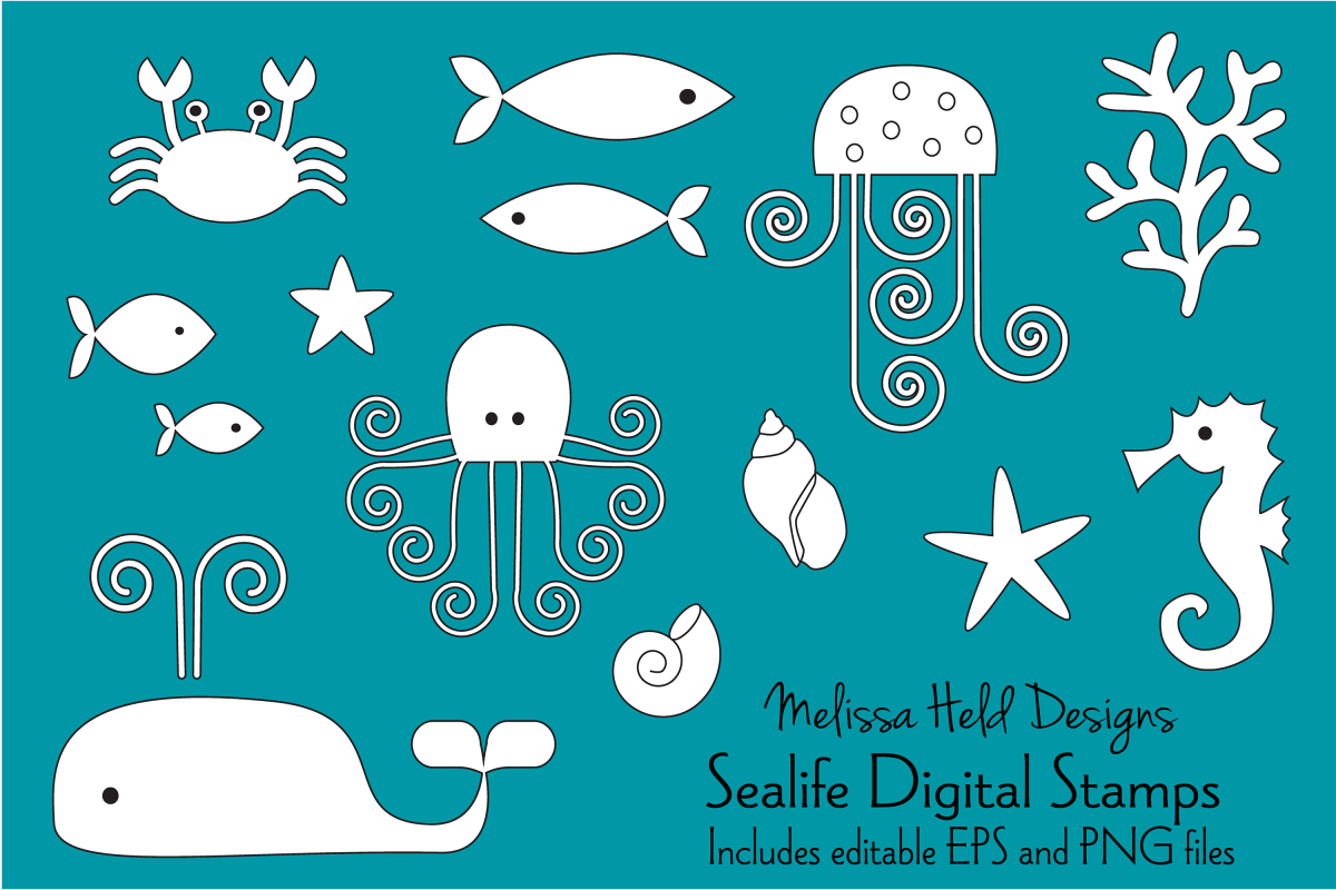 Sea Life Digital Stamps Clipart example image 1