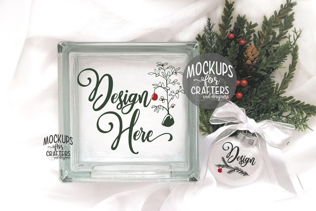 GLASS BLOCK & ORNAMENT DUO Mock-Up - Christmas Theme example image 1