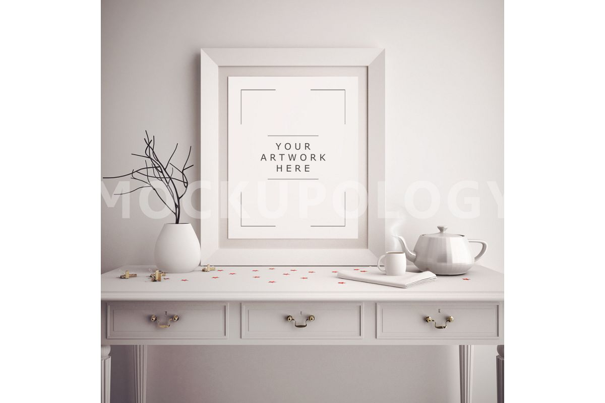 8x10 Vertical White Digital Frame Mockup Poster Wooden French Desk