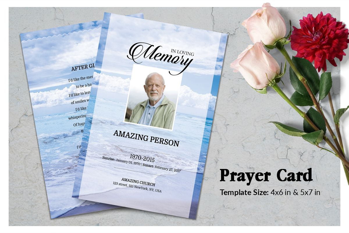 Sea Beach Funeral Prayer Card Template example image 1