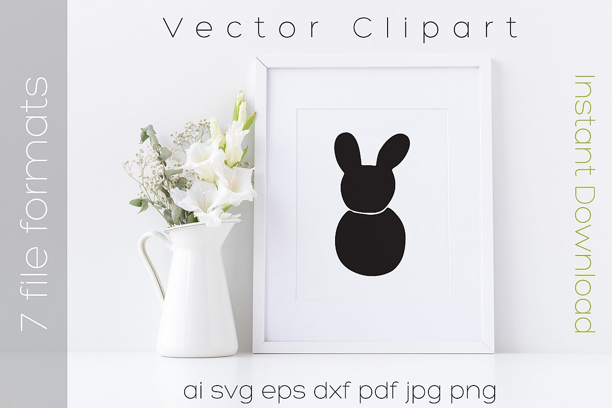 Bunny SVG Black Clipart Rabbit Drawing Vector Cut Files example image 1