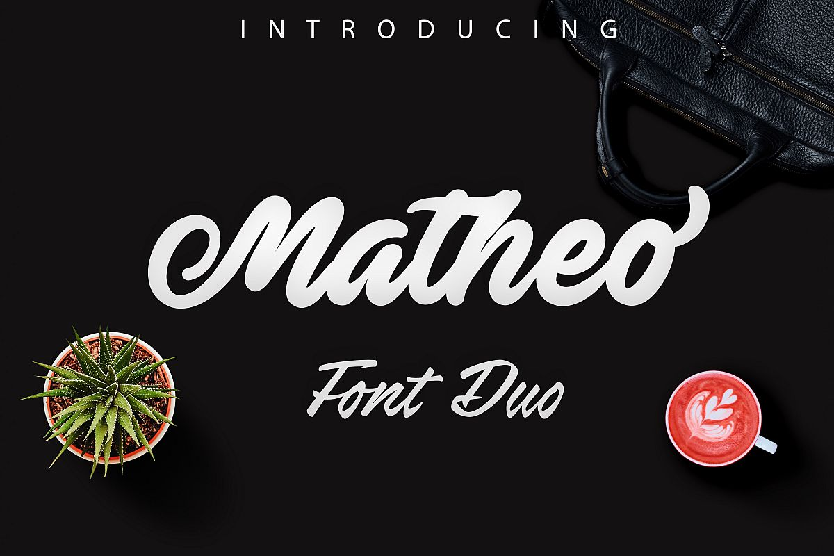 Matheo -bold script lettering example image 1