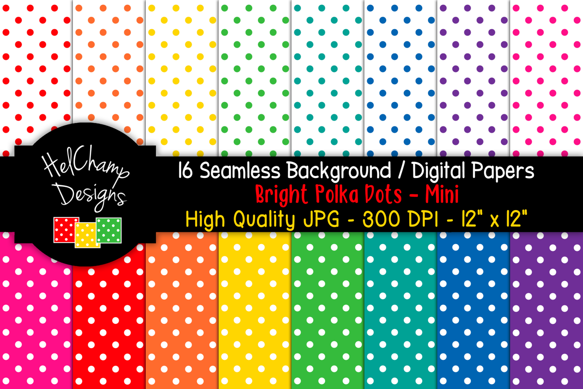 16 seamless Digital Papers - Bright Polka Dots Mini - HC017 example image 1