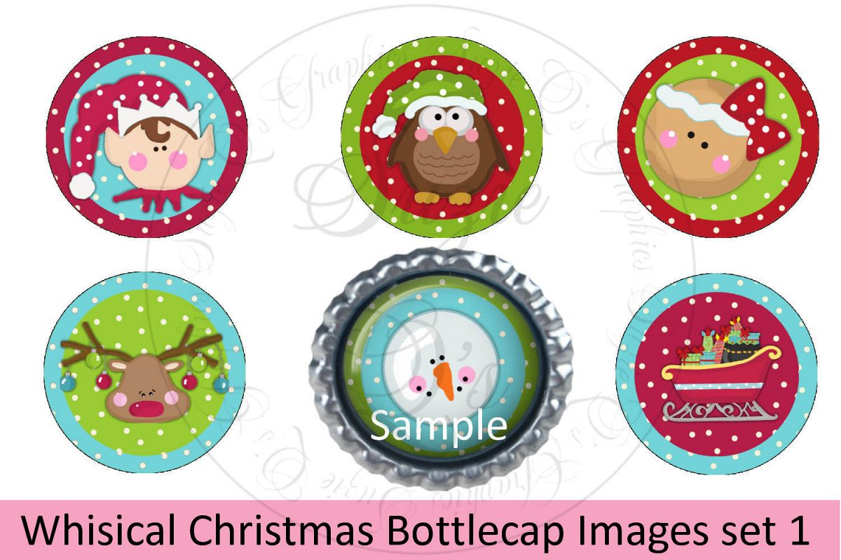 Whimsical Christmas Bottlecap Images, Labels example image 1