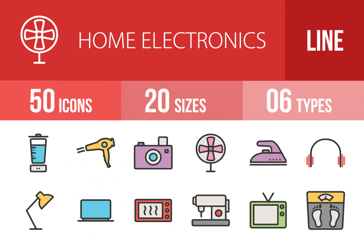 50 Home Electronics Linear Multicolor Icons example image 1