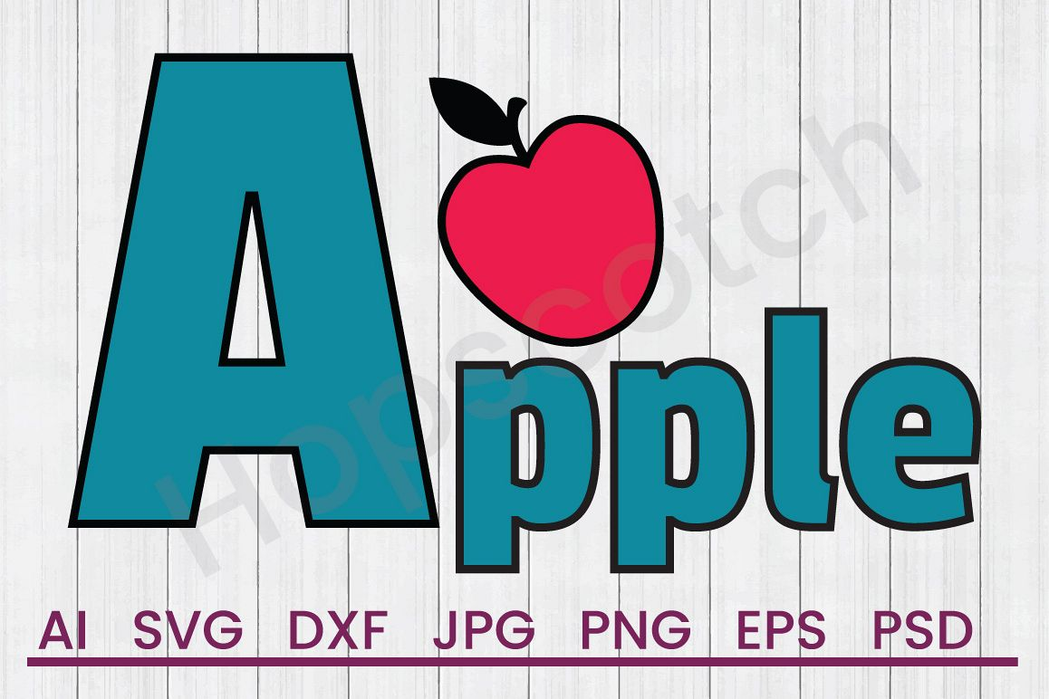 Apple SVG, DXF File, Cuttatable File example image 1