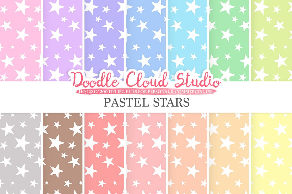 Pastel Stars digital paper, Stars patterns, Digital Stars, pastel colors background, Instant Download for Personal & Commercial Use example image 1