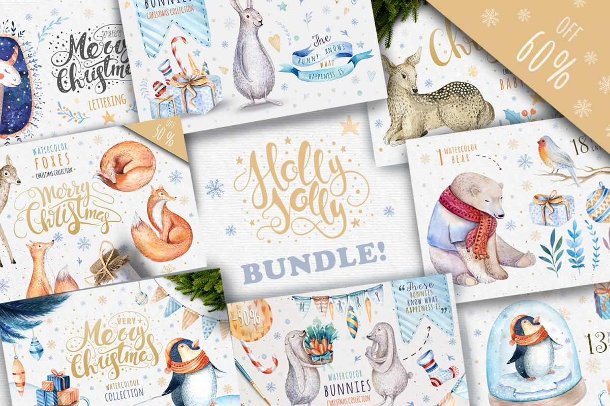 60off Watercolour Christmas BUNDLE! example image 1