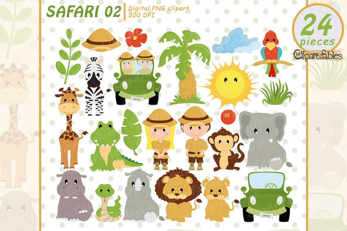 Safari friends, jungle animals cute animal design - instant example image 1