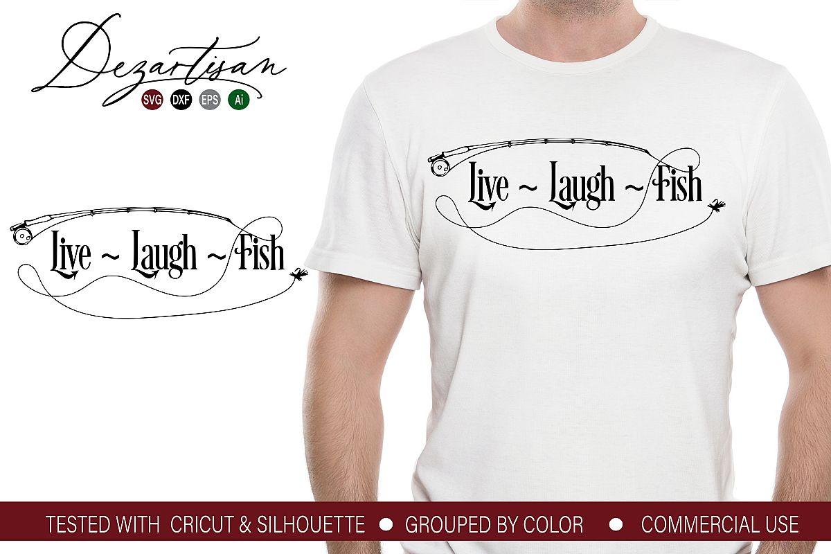Live Laugh Fish SVG DXF cut file example image 1